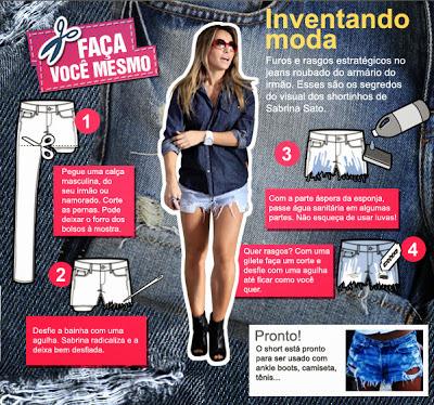 Short jeans rasgado e colorido - # Inventandomoda1