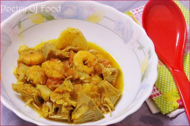 Enchor Chingri Dalna...!! Raw Jackfruit and Prawn Curry..!!