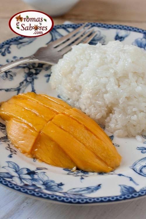 Arroz doce tailandês com manga