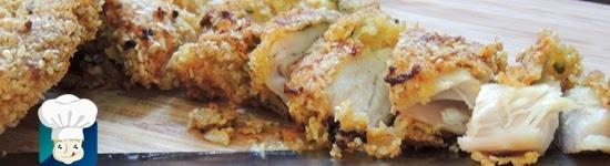 file de frango empanado com aveia ao forno