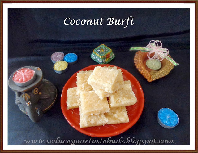 Thengai Burfi | Coconut Burfi | Coconut Fudge