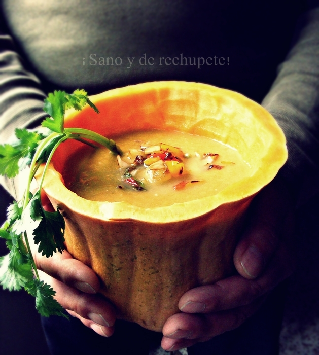 Sopa de calabaza y otras verduras al curry