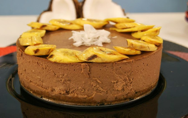 Cheesecake de Banana,Coco e Chocolate