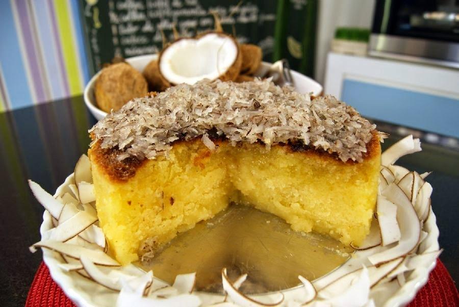 bolo de massa puba com leite condensado