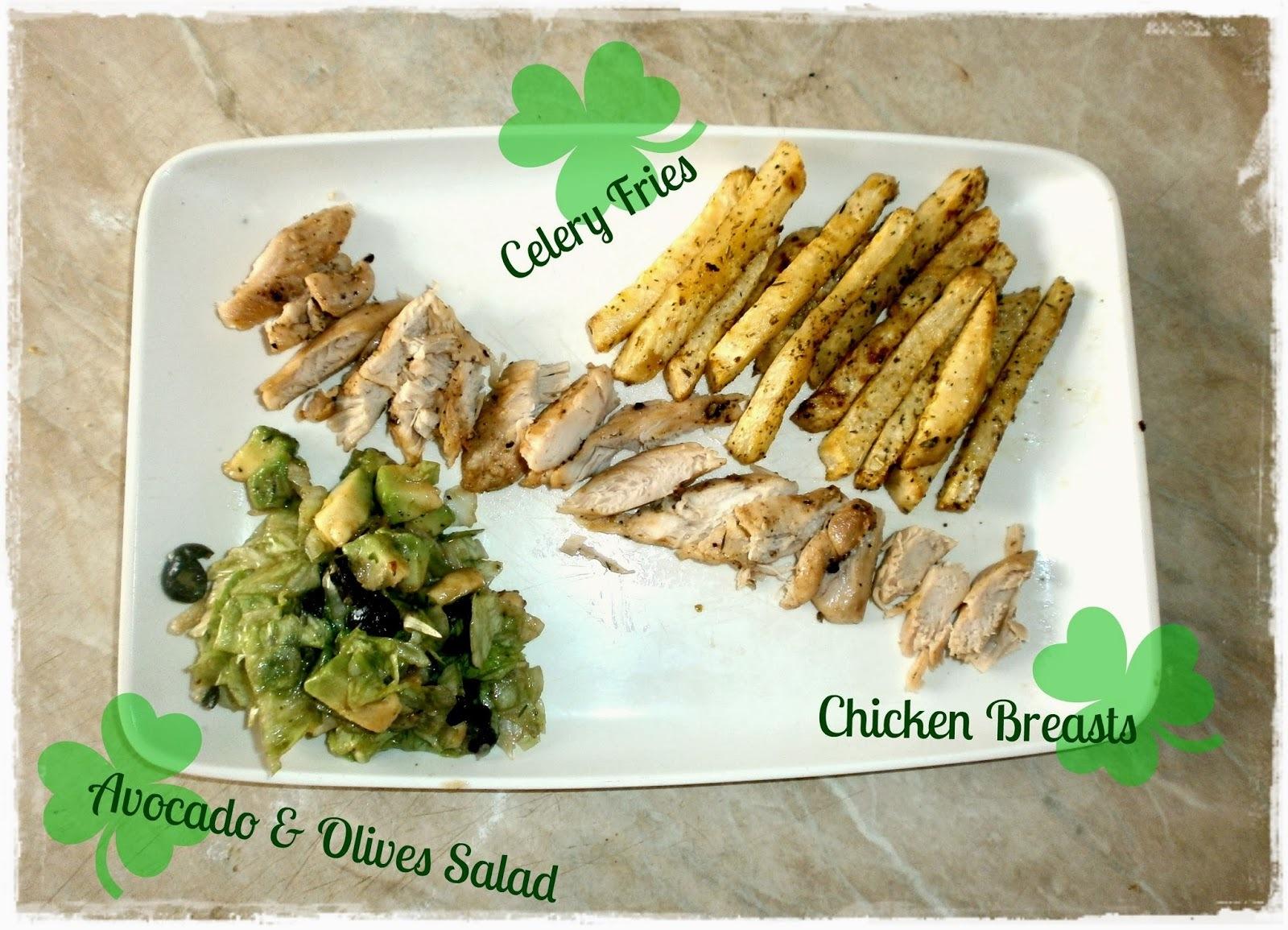 Bylinkové zelerové hranolky, kuracie prsia a šalát s avokádom a čiernymi olivami