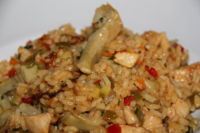 Arròs amb verdures i pit de pollastre