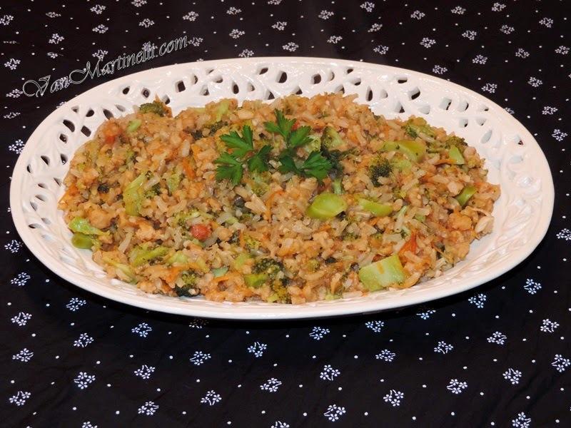 Risoto de proteína de soja e brócolis