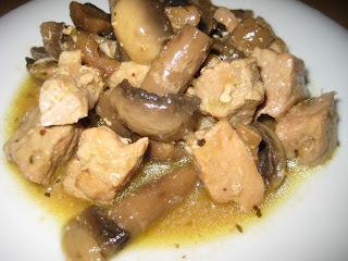 Carne de cerdo con champiñones, mostaza y miel con Aloe