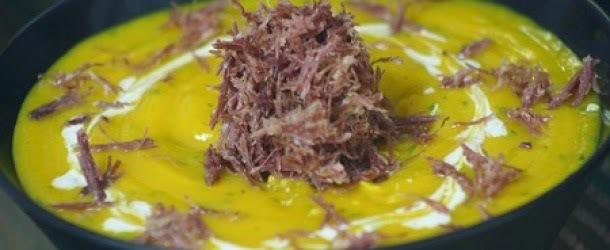 Creme de Abóbora com Carne de Sol
