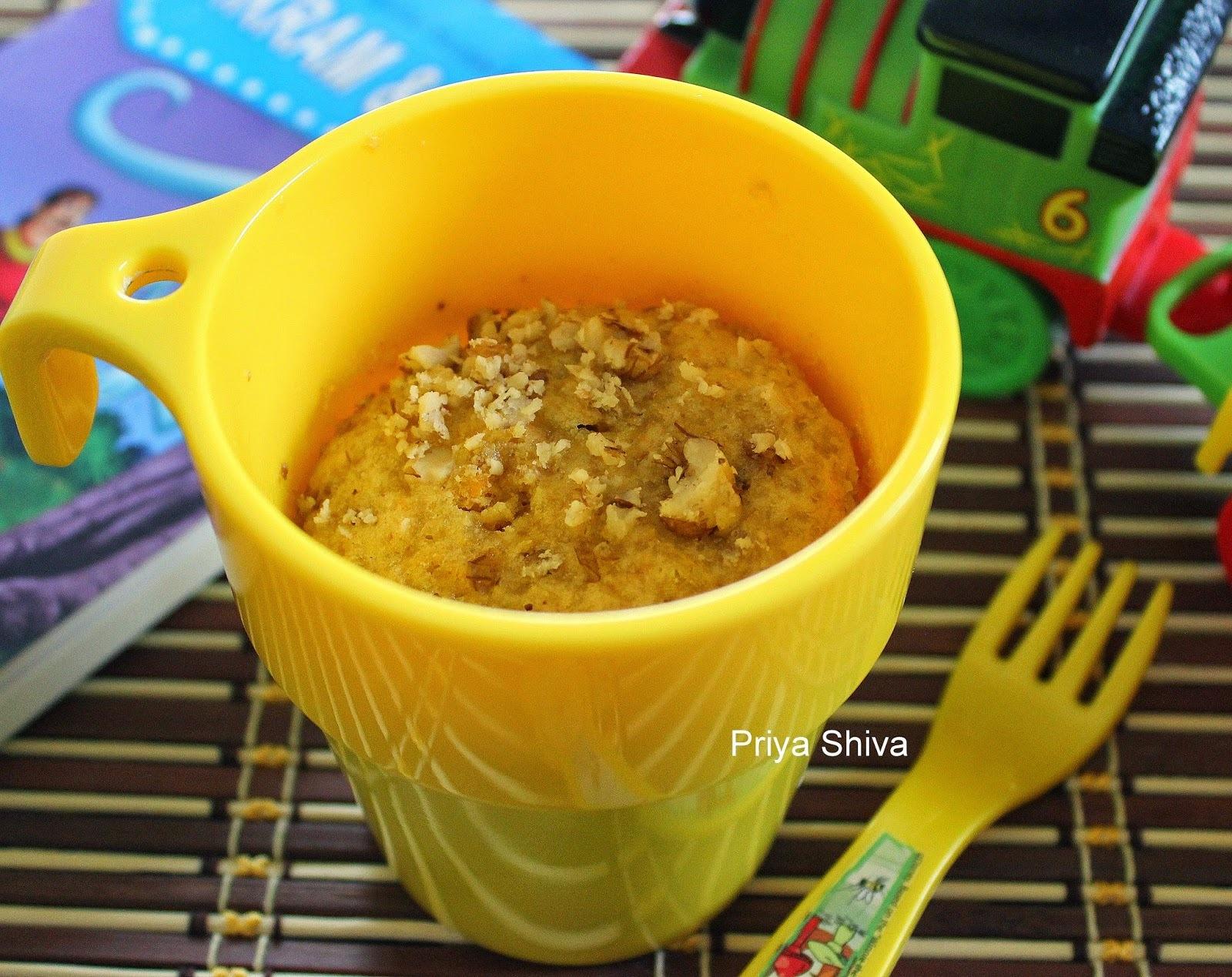 Eggless Whole wheat Carrot Mug Cake