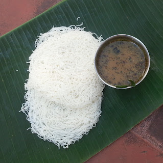 Idiyappam (String Hoppers) with South-indian style Pepper & Ginger soup