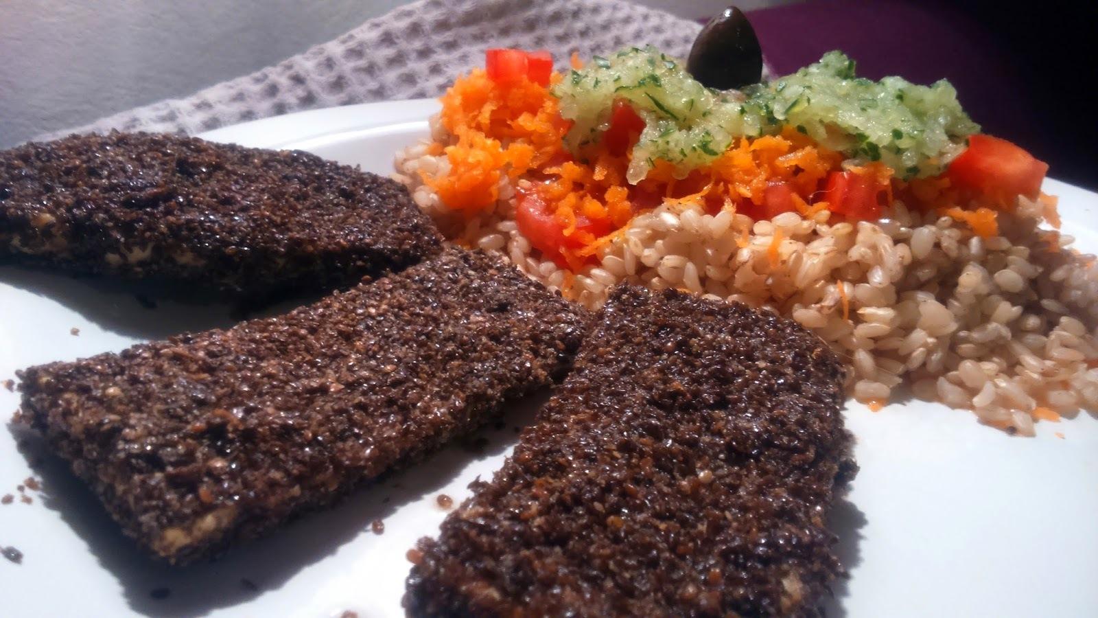 Rincón Vegano- Vegetariano: Arroz Yamaní acompañado con sticks rebozados A la Paula