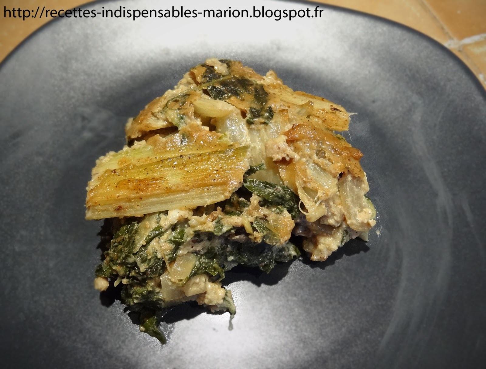 Gratin de poireaux, ou de bettes, ou d'épinards, ou de courgettes (ou autre légume vert)