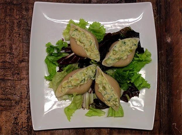 Salada de cochiglione de alho poró e abobrinha
