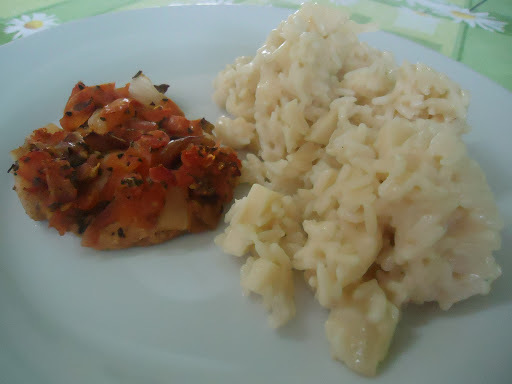 risoto de frango com creme de leite