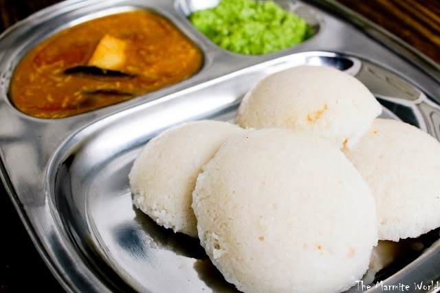 Idli / Steamed Rice Dumplings & Mixed Vegetable Sambar