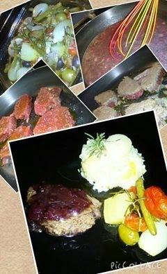 Risoto de alho poró com palmito ... acompanha mignon com redução de vinho tinto e  caminha de legumes.