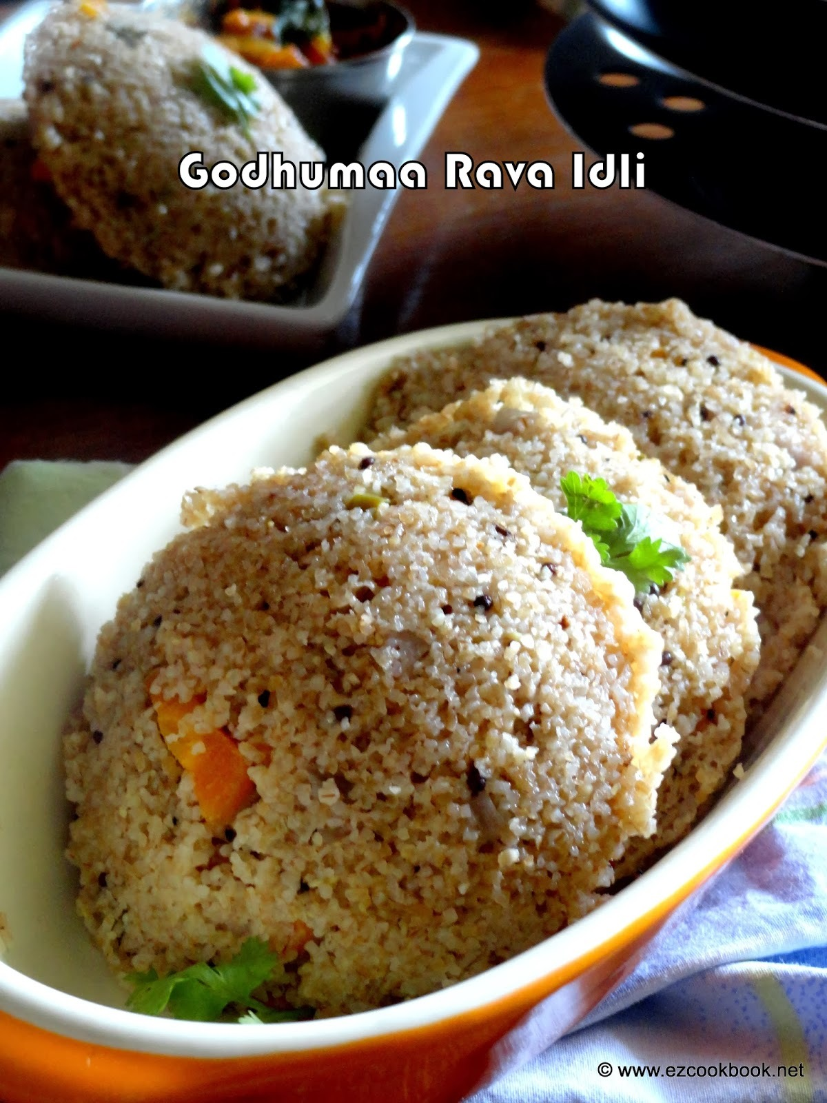 Broken Wheat Rava Idli | Godhuma Rava Idli - Instant Idli Recipe