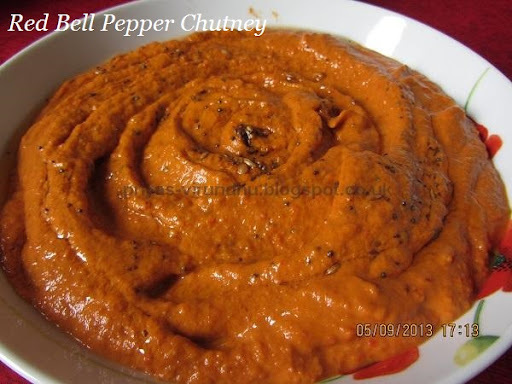 Red Bell Pepper Chutney[Side dish for Idlis, dosas, chapathis and more]