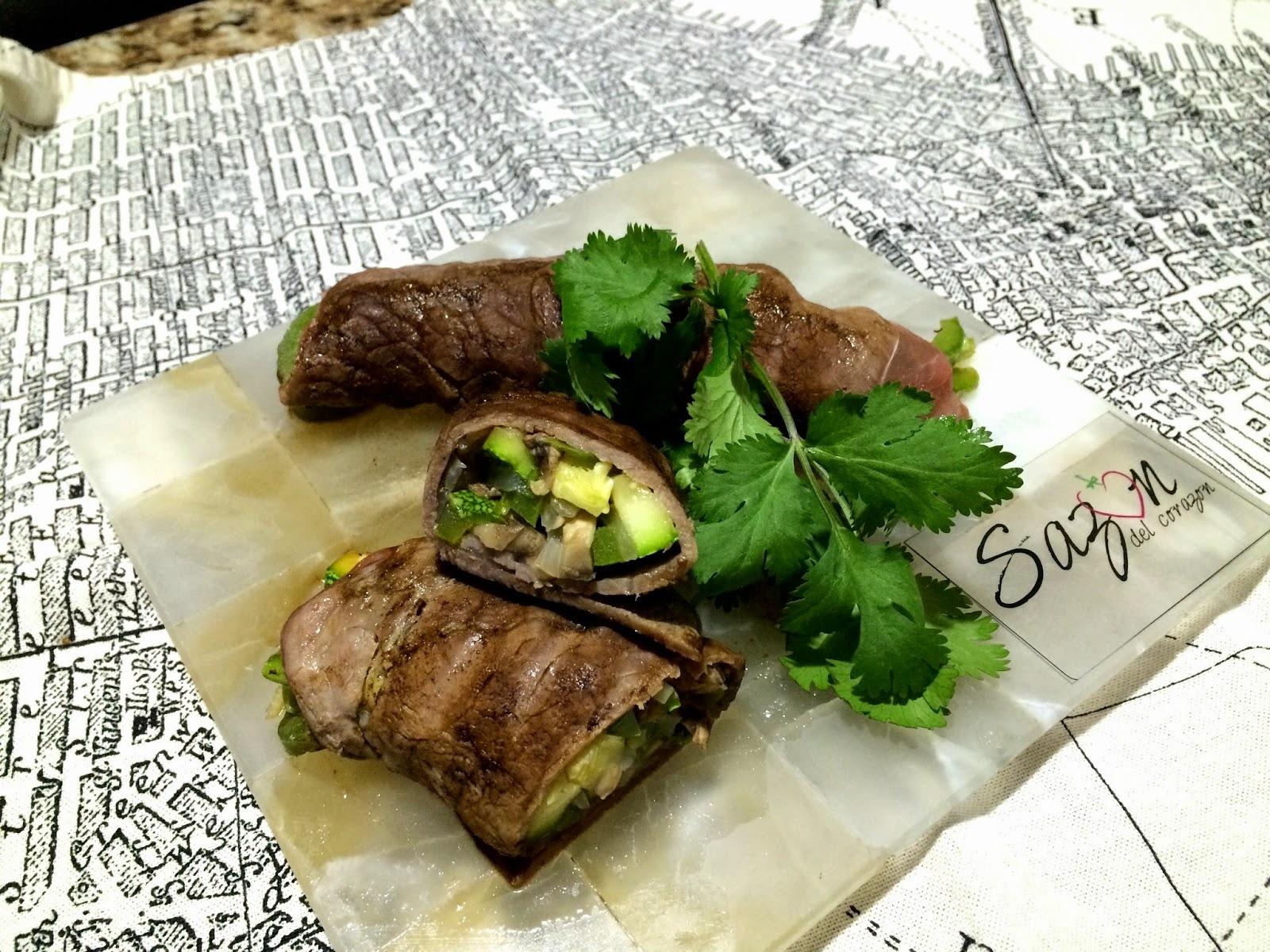 Rollo de ternera con verduras