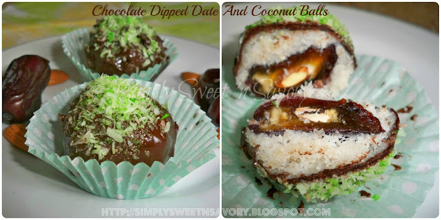 Chocolate Dipped Date And Coconut Balls