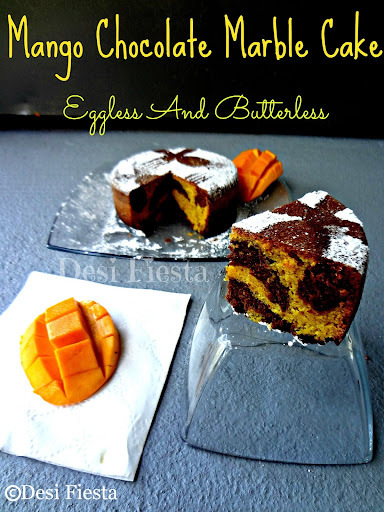 Mango Chocolate Marble Cake - Eggless & Butterless