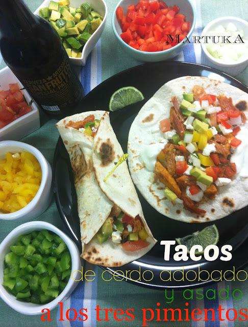 Tacos De Cerdo Adobado Y Asado A Los Tres Pimientos