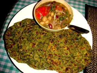 Methi Paratha with Boiled Lentils