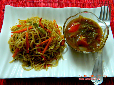 Stir Fried vegetable noodles with stir fried vegetbales