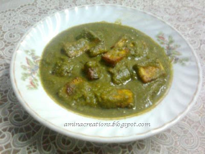 PALAK PANEER (SPINACH COTTAGE CHEESE GRAVY)