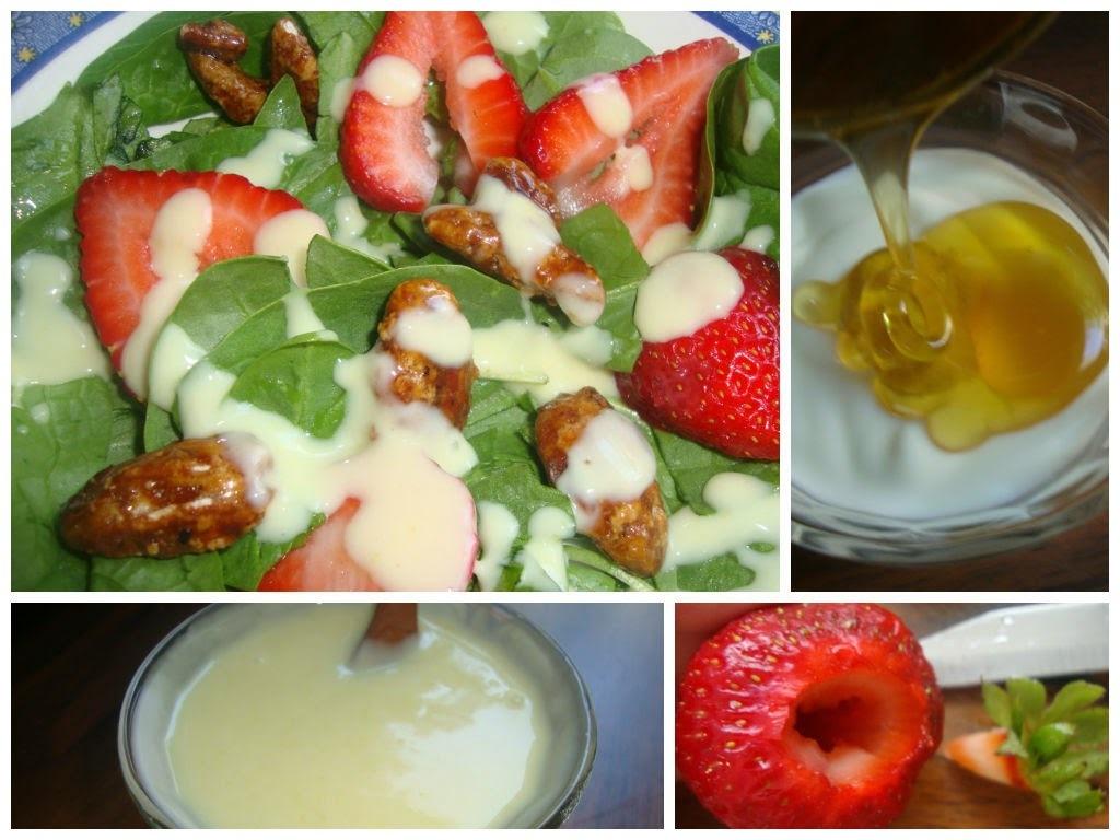 Ensalada de Espinacas Baby y aderezo de Yogur con miel