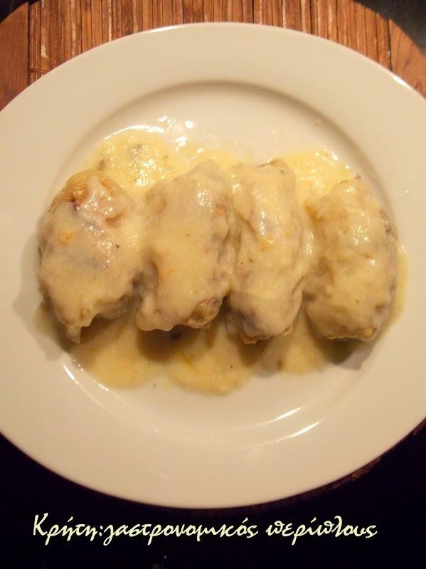 Λαχανοντολμάδες με κιμά στο φούρνο  ( με  κρέμα αυγολέμονο)