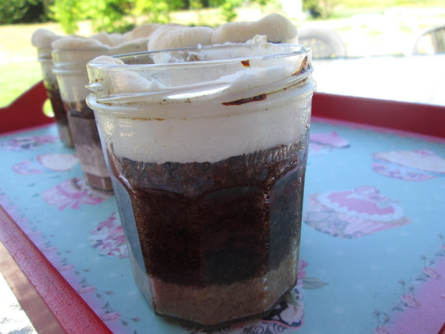 S' mores cake in a Jar