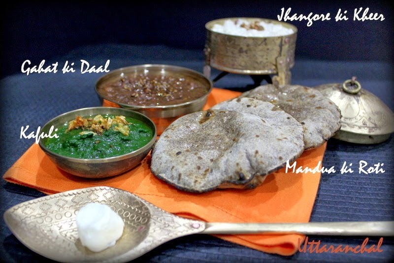 A meal from Uttaranchal with Gahat Daal, Kafuli , Mandua ki Roti and Jhagore ki Kheer