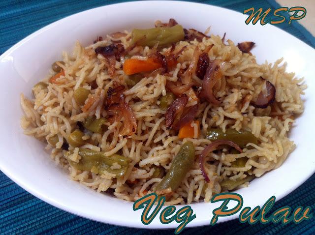 Veg Pulav - Mixed veggies in Rice - UBC Day 3