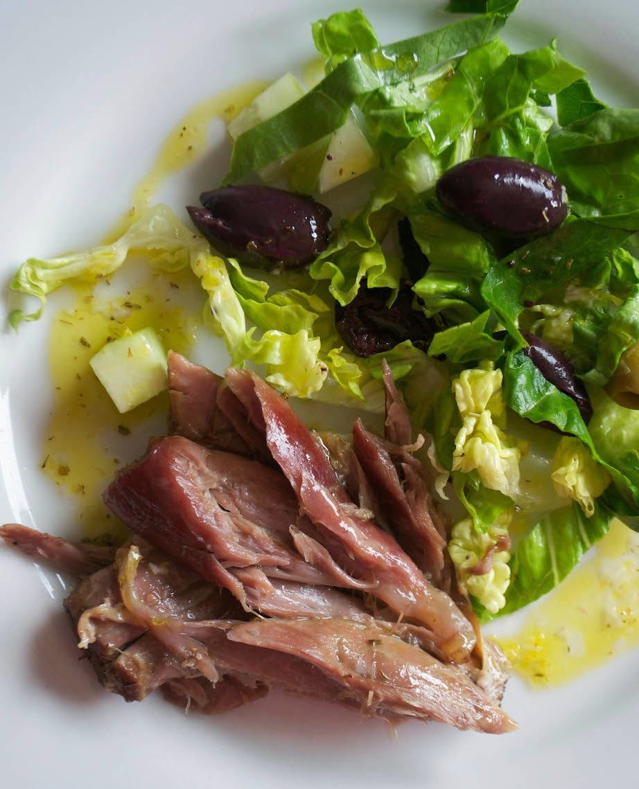 Slow Cooker Garlic Lamb Shanks with Lemon Dressing