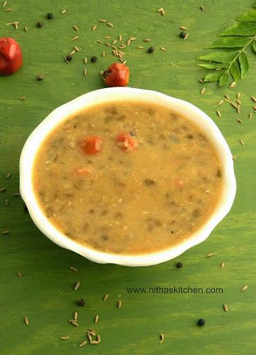 Pasiparuppu Kuzhambu | Green Moong Bean | Split Green Dal Curry
