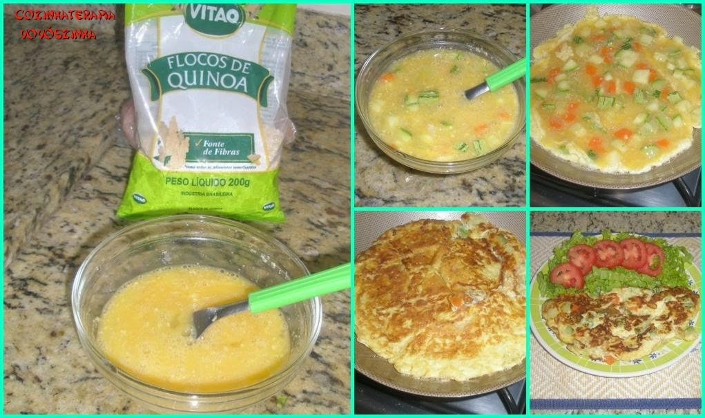 Omelete de legumes com flocos de quinoa Vitao