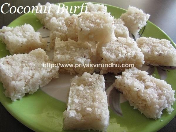 Thengai Burfi/Coconut Burfi/Nariyal Burfi – Diwali Special