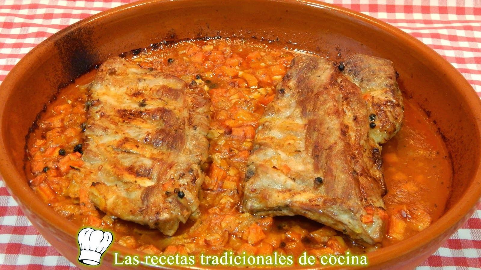 Receta de costillas de cerdo en salsa al horno