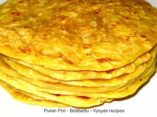 Puran Poli - Bobbatlu- Step Wise Pictures - obbattu recipe - holige recipe