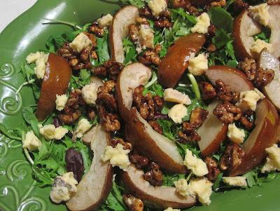 Pear, gorgonzola and sticky walnut salad
