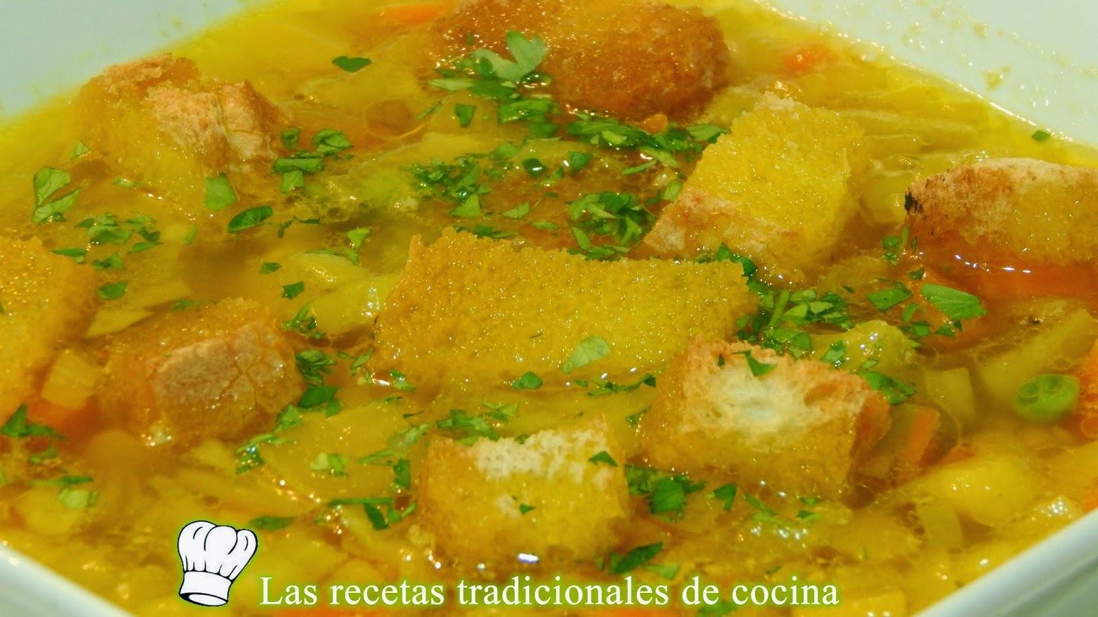 Receta fácil de la sopa de verduras Alicantina