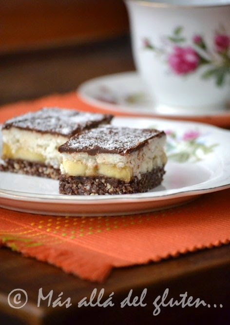 Cuadritos de Banano y Coco (Receta GFCFSF, Vegana, RAW)