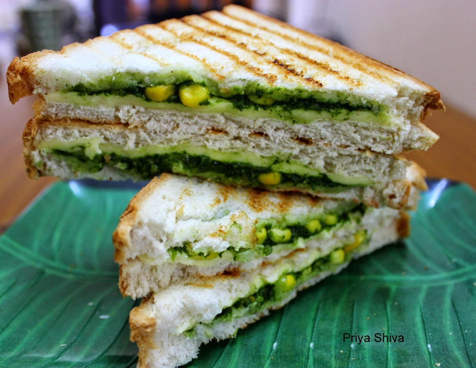 cheese spinach corn sandwich