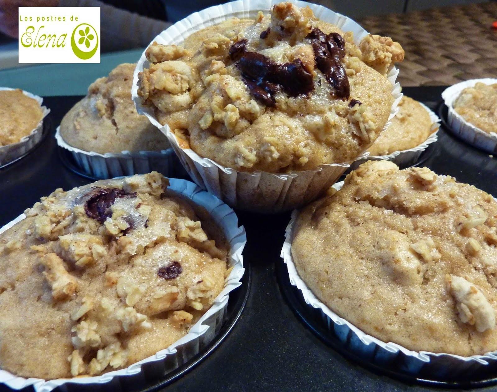 Muffins de pera y muesli crujiente