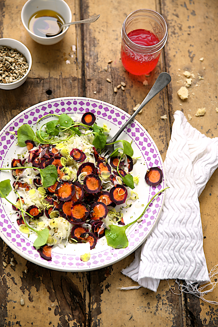Salade de légumes d'hiver au pourpier et graines de tournesol