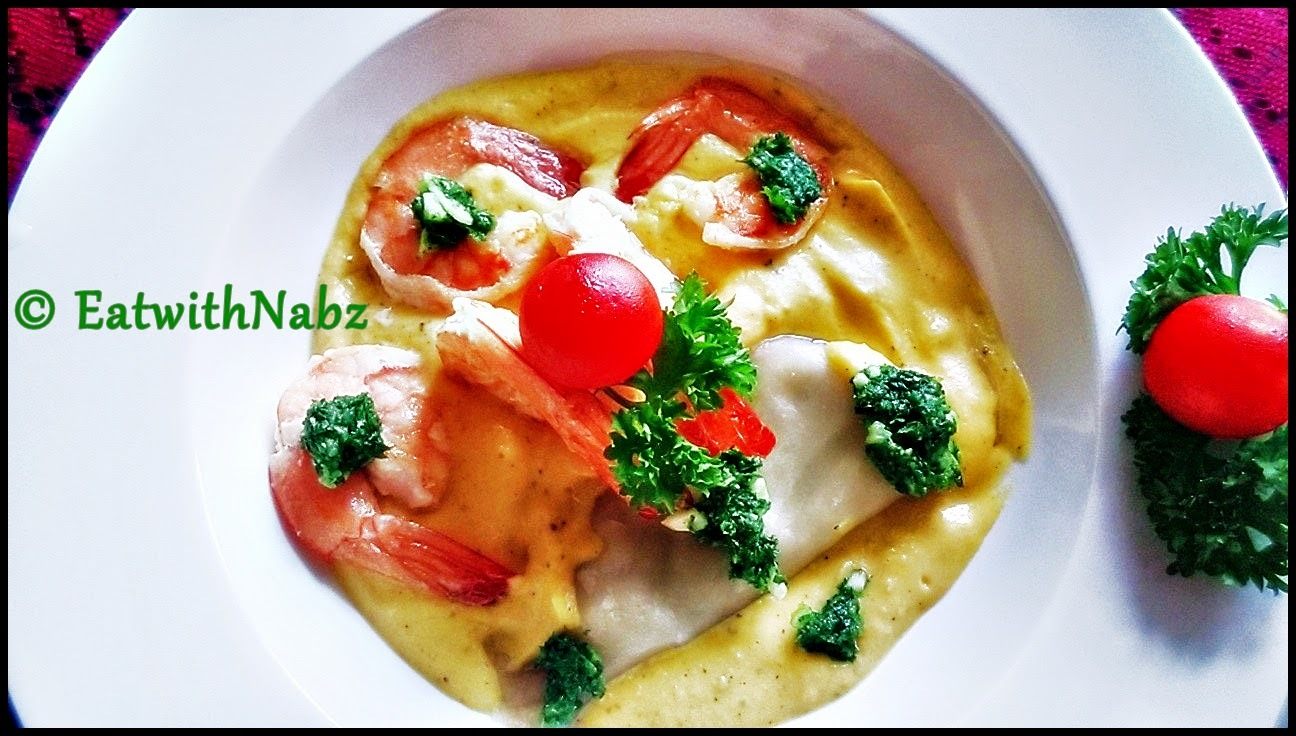 Buttered Prawns and dumplings Dressed with Gremolata in Pumpkin Puree