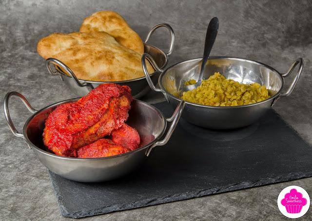 Bollyfood, repas indien: Poulet tandoori accompagné de dhal et de naan