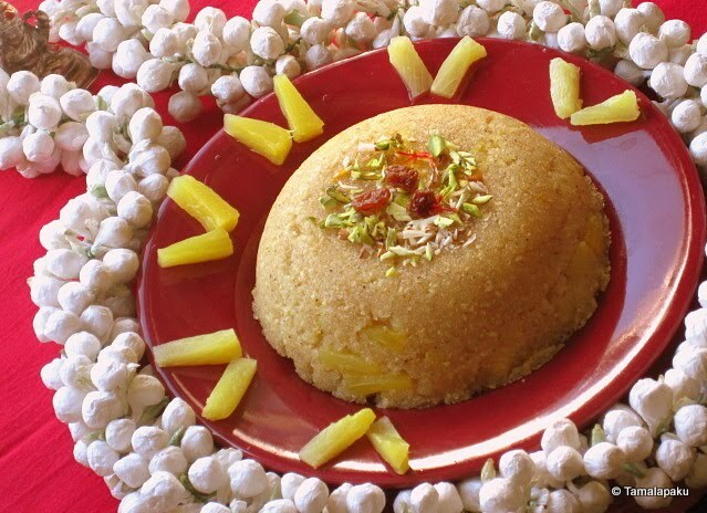 Pineapple Kesari for Durgashtami
